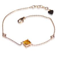 梦克拉 18k金黄水晶钻石手链 相思意 k金黄晶手饰女款 创意礼品