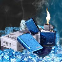 美国芝宝Zippo打火机 蓝冰/Logo标志 20446zl蓝冰商标 光板机