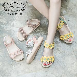 玛菲玛图女夏凉鞋子2017新款舒适中跟百搭学生真皮平底花朵罗马鞋817-32