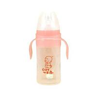 小不点-宽口径带柄硅胶奶瓶220ML-红KY220-1
