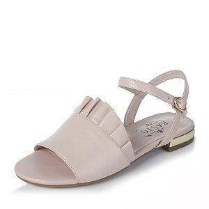 BASTO/百思图2017夏季羊皮甜美可爱简约纯色平跟女凉鞋61154BL7