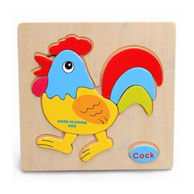 木质立体拼图玩具 木制动物积木拼图儿童拼板 幼儿宝宝智力1-2岁_立体