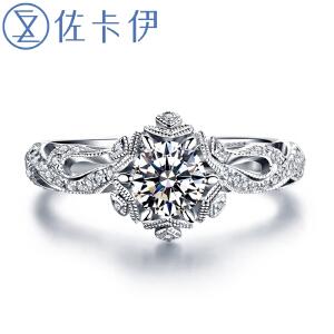 佐卡伊白18k金钻戒钻石戒指女款结婚求婚戒指正品珠宝初雪系列