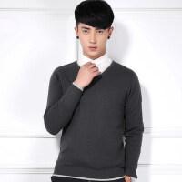 秋季新款男士毛衣长袖韩版修身V领套头针织衫纯棉线衣潮