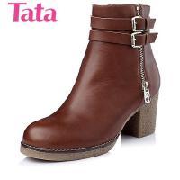 Tata/他她专柜同款蜡牛皮女短靴2XD42DD4