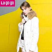 Lagogo 拉谷谷冬季新款白色大毛领中长款直筒羽绒服 加厚 外套女