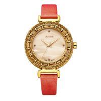 聚利时(julius)石英表 真皮表带 圆形表盘镶钻环绕 时尚朝流女士手表 JA-512