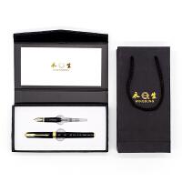 英雄实业永生钢笔618C 2件套装经典黑 明尖暗尖铱金钢笔美工笔宝珠笔签字笔 学生成人办公书法练字墨水笔礼品钢笔