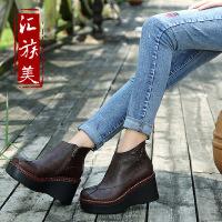 汇族美真皮侧拉链女靴厂家批发头层牛皮平底复古民族风平跟短靴