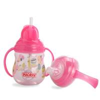 美国nuby努比宝宝喝水杯子带吸管 鸭嘴 双用学饮杯 婴儿水杯手柄防漏