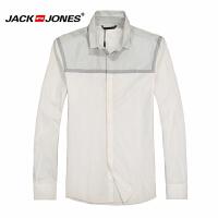 JACK&JONES杰克琼斯男士简约百搭休闲拼接修身长袖衬衫