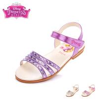迪士尼女童凉鞋2017年夏季新款公主鞋卡通闪钻平跟鞋中大童时装鞋 DF0049