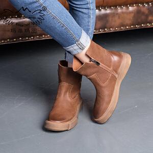 玛菲玛图 2016清仓平底马丁靴女复古风纯手工学生厚底短靴单靴女裸靴 009-37S