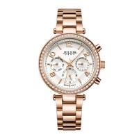 聚利时(Julius)新款时尚钢带款手表镶嵌水钻三眼六针瑞士机芯石英女表 JA-950