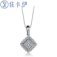 佐卡伊 白18k金公主方钻石结婚吊坠项坠项链珠宝 星空