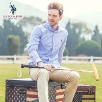 衬衫男士长袖经典条纹纯棉男装衬衣U.S. POLO ASSN.春装