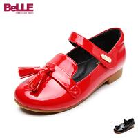 百丽Belle童鞋女童皮鞋2017春夏新款小童黑色流苏单鞋儿童公主鞋学生鞋 DE0295