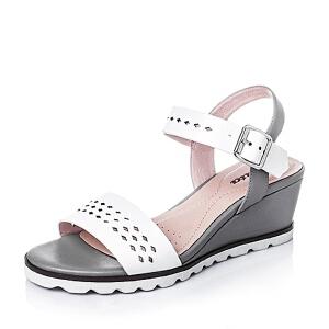 Bata/拔佳夏季羊皮坡跟女皮凉鞋65402BL6