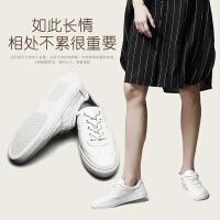 青婉田2017新款春季真皮休闲小白鞋系带百搭白色板鞋舒适平底女鞋