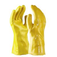 威士邦 黄色棉毛浸塑劳保劳防PVC手套 防水防油防污耐酸碱 水产加工化工机械专用塑料手套