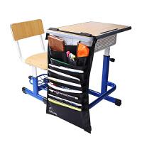 得力(deli)72365 黑色 多功能可调课桌挂袋 学生书本收纳袋/挂架/挂书袋当当自营