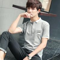 地球城男士短袖T恤翻领 polo衫短袖男修身有带领上衣韩版青年英伦潮