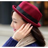 新款 潮女士 秋冬礼帽卷边帽字母M 简约羊毛呢帽
