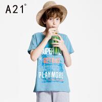 A21童装圆领纯棉字母印花短袖T恤男童舒适休闲时尚风针织衫