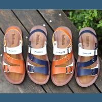 【包邮】2016秋季新品男士凉鞋头层牛皮沙滩鞋真皮绒面男拖鞋13645JLF