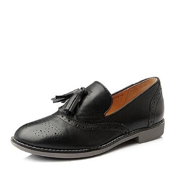 Teenmix/天美意秋季专柜同款复古简约牛皮女皮鞋6RY22CM5