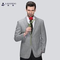 浪登男装春季新款羊毛呢西服男休闲浅灰色格纹男士单西外套8445