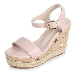 BASTO/百思图夏季专柜同款牛皮时尚坡跟女凉鞋TTP04BL6