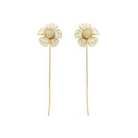 意大利Misis美赛丝艺术珠宝优雅别致白色珐琅洋桔梗花朵耳环