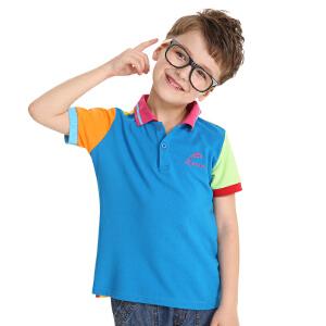 【99元三件】渔民部落户外童装夏季儿童速干t恤短袖男童女童舒适透气立领polo衫  862111