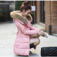秋冬新款加厚中长款羽绒服女韩版修身收腰大毛领羽绒服外套潮
