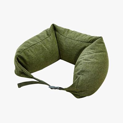 当当优品家纺 纯棉针织U枕 旅行枕午睡颈枕腰枕 草绿当当自营 MUJI制造商 360°承压 午睡 旅行必备 微粒子填充