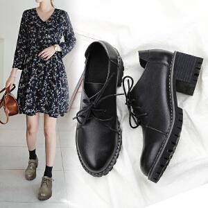 阿么2017秋季上新单鞋女复古圆头休闲鞋粗跟系带英伦风高跟女鞋子