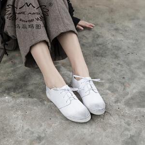 【下单立减10元,满299-50】玛菲玛图2017春款女鞋韩版复古做旧系带小白鞋女百搭平底学生单鞋子运动鞋3309-12XB