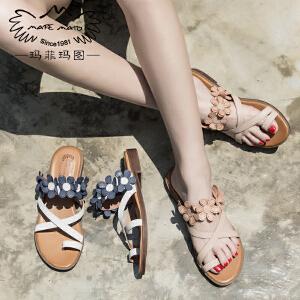 玛菲玛图17夏天拖鞋女外穿复古罗马套趾花朵凉鞋一字森女真皮平底方跟凉拖2611-5D