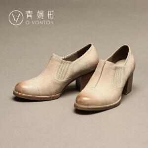 青婉田2017春季新款真皮深口女士单鞋英伦风通勤高跟鞋粗跟女皮鞋