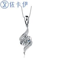 佐卡伊白18k金结婚钻石吊坠项链奢华结婚项坠送女友珠宝 邂逅新品