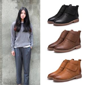 玛菲玛图休闲马丁靴复古女短靴魔术贴单靴低跟圆头短筒靴英伦风女靴109-16S