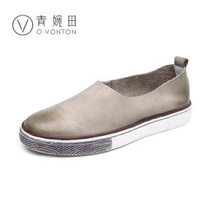 青婉田2017春鞋新款复古女鞋套脚圆头单鞋女平底鞋女真皮