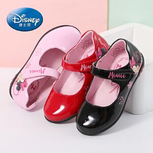 迪士尼女童皮鞋公主鞋2017春季新款儿童黑色单鞋灯鞋中小童表演鞋