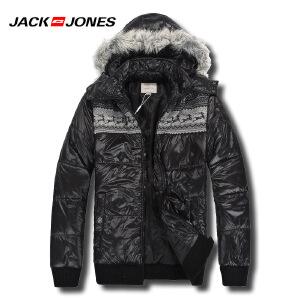 杰克琼斯男士亮面翻帽棉服 羽绒服N-1-211422008010