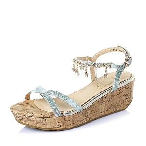 BASTO/百思图夏季专柜同款布面女凉鞋TF608BL6