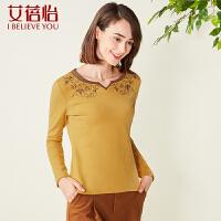 女装新款潮小V圆领绣花拼接套头长袖T恤女大码CTD6263