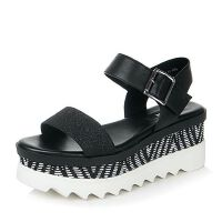 Belle/百丽夏季专柜同款亮片布简约舒适厚底女凉鞋BKI31BL6