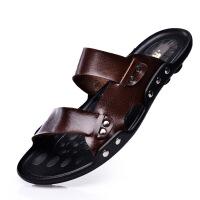 【包邮】2017夏季新款超软男士凉鞋 真皮露趾平底沙滩鞋男凉拖鞋子628JZQG支持货到付款