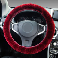 【支持礼品卡支付】YooCar  新款纯羊毛把套 毛绒方向盘套 高档整皮 冬季汽车用品 酒红色
